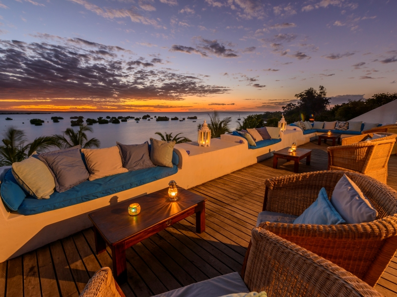 Ibo Island Lodge Sky Bar at Sunset
