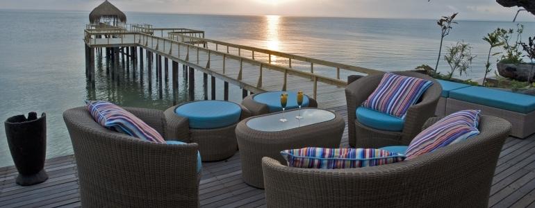Dugong Beach Lodge Pool Deck At Sunset